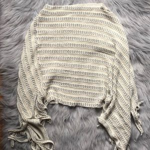 Francesca's cream and gray fringed poncho